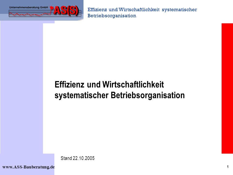 Effizienz und Wirtschaftlichkeit systematischer Betriebsorganisation www.ASS-Bauberatung.de 1 Effizienz und Wirtschaftlichkeit systematischer Betriebsorganisation Stand 22.10.2005