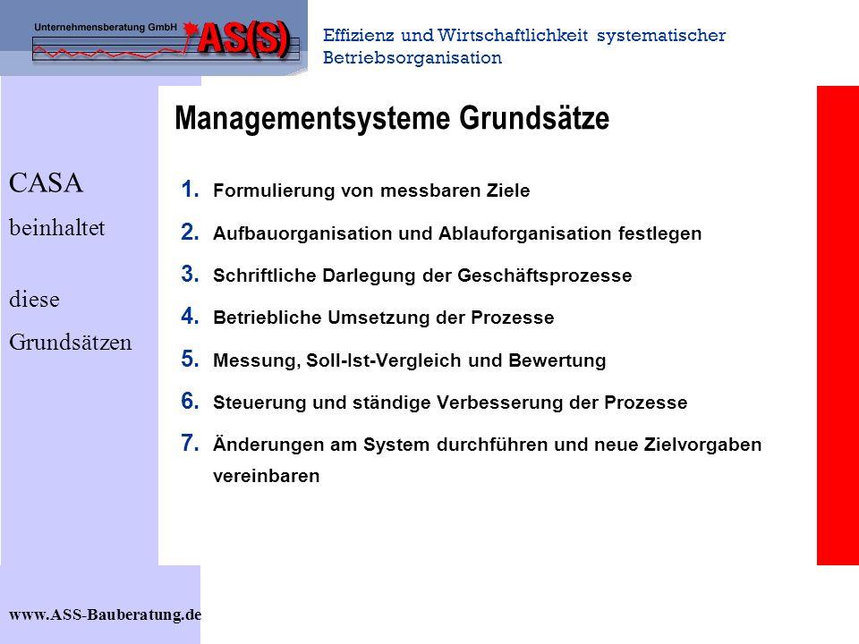 Effizienz und Wirtschaftlichkeit systematischer Betriebsorganisation www.ASS-Bauberatung.de Managementsysteme Grundsätze 1. Formulierung von messbaren