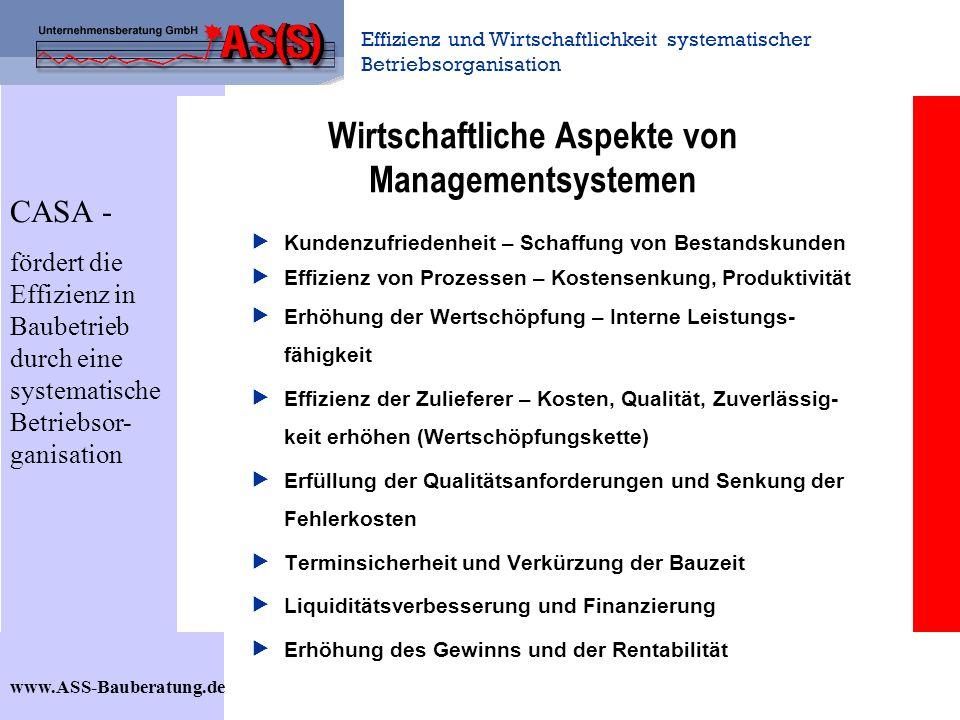 Effizienz und Wirtschaftlichkeit systematischer Betriebsorganisation www.ASS-Bauberatung.de Wirtschaftliche Aspekte von Managementsystemen Kundenzufri