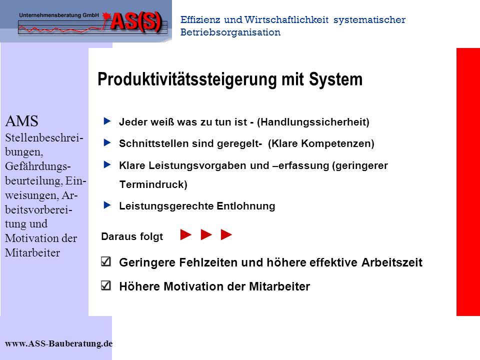 Effizienz und Wirtschaftlichkeit systematischer Betriebsorganisation www.ASS-Bauberatung.de Produktivitätssteigerung mit System Jeder weiß was zu tun