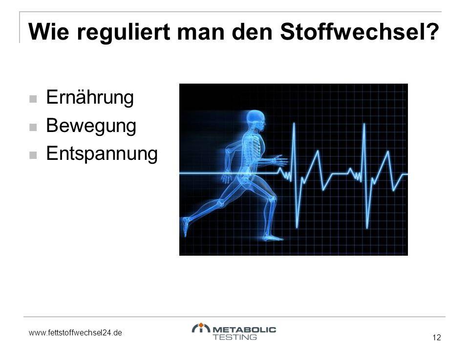 www.fettstoffwechsel24.de Wie reguliert man den Stoffwechsel? 12 Ernährung Bewegung Entspannung