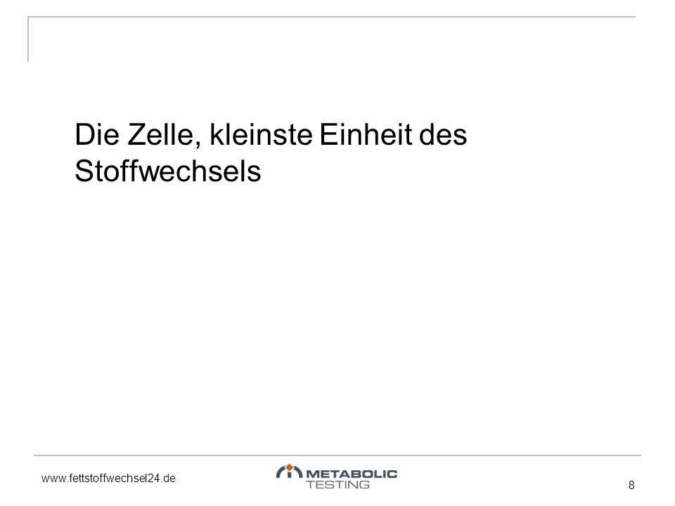 www.fettstoffwechsel24.de 8 Die Zelle, kleinste Einheit des Stoffwechsels