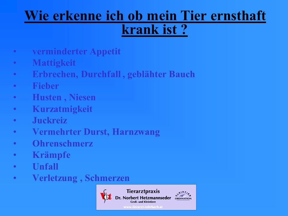 www.tierarzt-rohrbach.at Wie erkenne ich ob mein Tier ernsthaft krank ist .