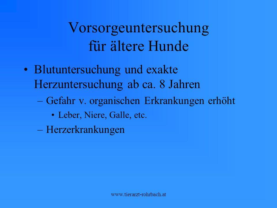 www.tierarzt-rohrbach.at Vorsorgeuntersuchung für ältere Hunde Blutuntersuchung und exakte Herzuntersuchung ab ca.