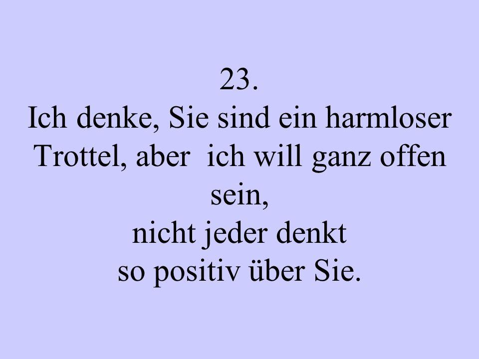 23. Ich denke, Sie sind ein harmloser Trottel, aber ich will ganz offen sein, nicht jeder denkt so positiv über Sie.
