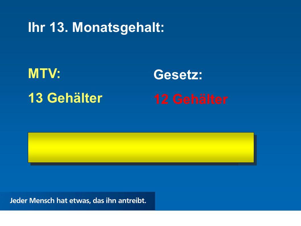 Ihr 13. Monatsgehalt: MTV: 13 Gehälter Gesetz: 12 Gehälter