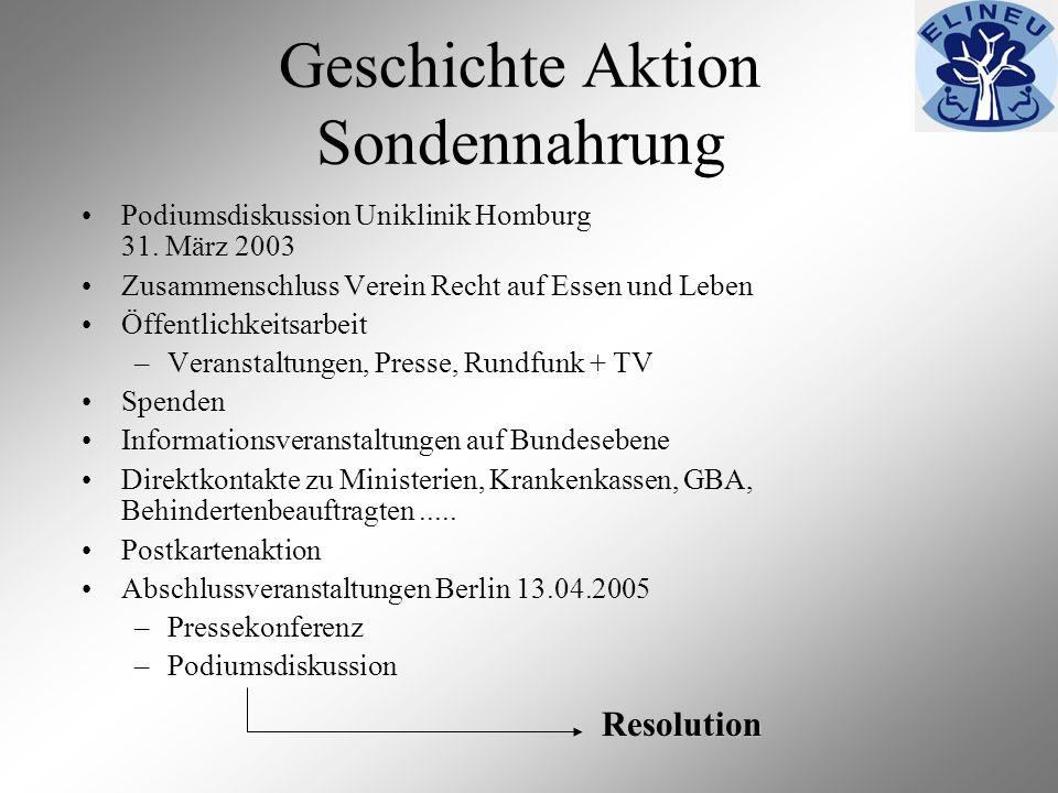 Geschichte Aktion Sondennahrung Podiumsdiskussion Uniklinik Homburg 31. März 2003 Zusammenschluss Verein Recht auf Essen und Leben Öffentlichkeitsarbe