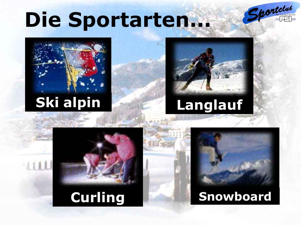 Ski alpin Langlauf Snowboard Curling Die Sportarten...