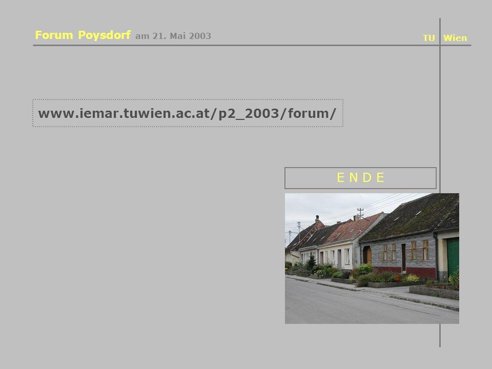 www.iemar.tuwien.ac.at/p2_2003/forum/ Forum Poysdorf am 21. Mai 2003 E N D E TU Wien