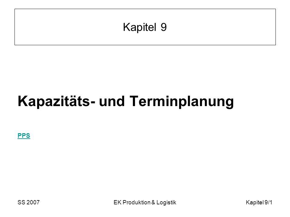 SS 2007EK Produktion & LogistikKapitel 9/12 Erweiterungen Mögliche Erweiterungen des Grundmodells: Mindestabstände zwischen Vorgängen verallgemeinerte Vorgänger – Nachfolgerbeziehungen Verkürzung von Vorgängen (auf dem kritischen Pfad) gegen zusätzliche Kosten (meist als CPM-Methode bezeichnet) stochastische Erweiterungen, wo die Dauern D der Vorgänge nicht gegeben sind, sondern nur deren Wahrscheinlichkeitsverteilungen (meist als PERT-Methode bezeichnet) wird teilweise im VK behandelt