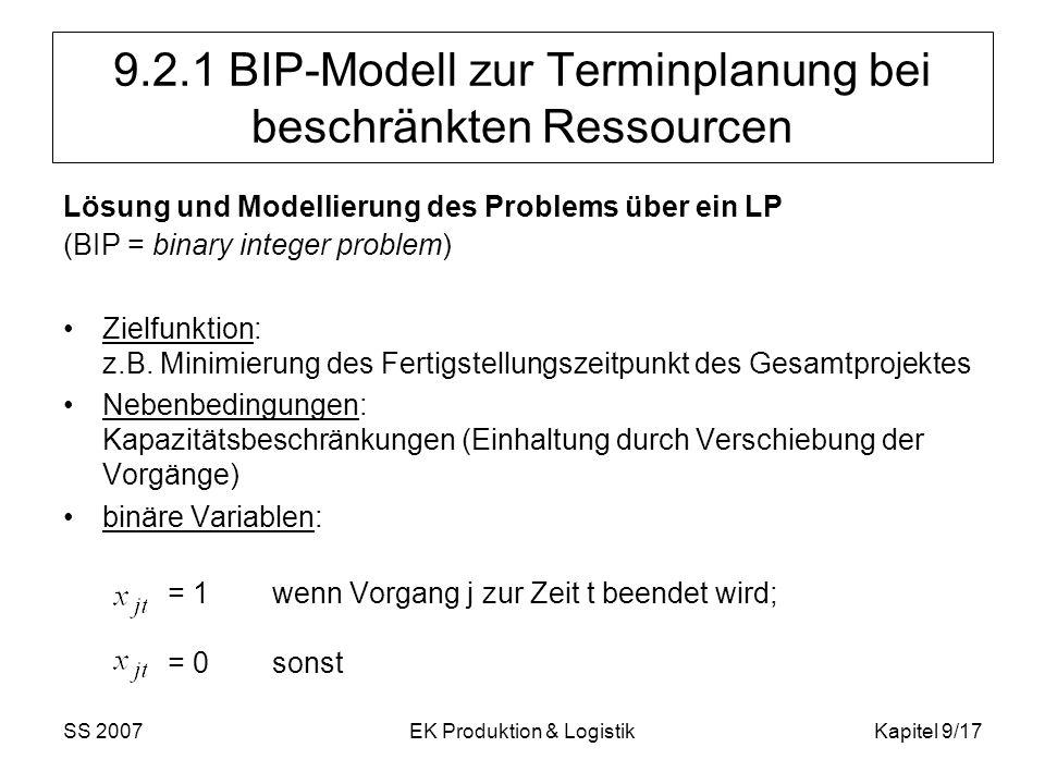 SS 2007EK Produktion & LogistikKapitel 9/17 9.2.1 BIP-Modell zur Terminplanung bei beschränkten Ressourcen Lösung und Modellierung des Problems über e