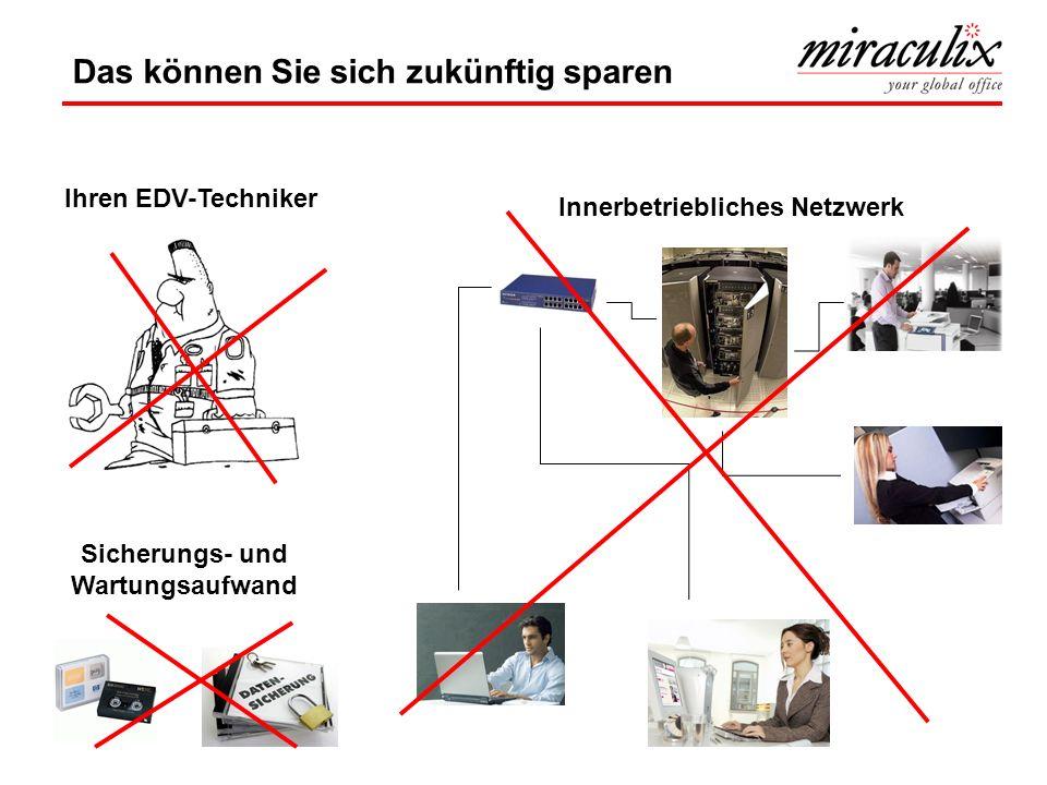 Ihren EDV-Techniker Sicherungs- und Wartungsaufwand Innerbetriebliches Netzwerk Das können Sie sich zukünftig sparen
