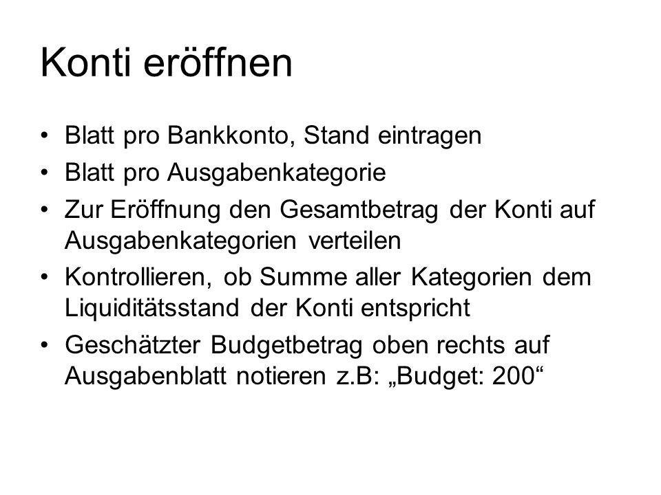 Kategorieblatt Kopf: Bezeichnung des Blattes eintragen Budget: Monatlicher Betrag eintragen Datum Wann Einnahme/Ausgabe gebucht? Konto Ab welchem Kont