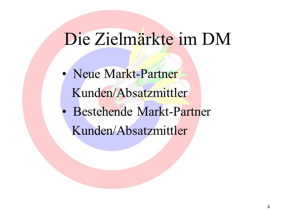 4 Die Zielmärkte im DM Neue Markt-Partner Kunden/Absatzmittler Bestehende Markt-Partner Kunden/Absatzmittler