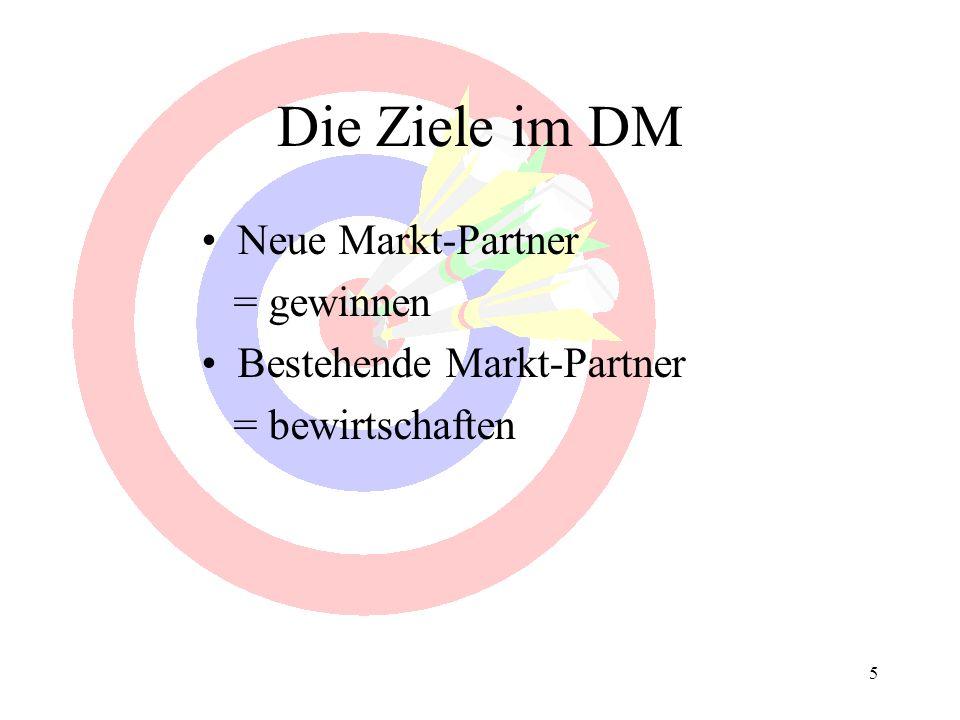 5 Die Ziele im DM Neue Markt-Partner = gewinnen Bestehende Markt-Partner = bewirtschaften