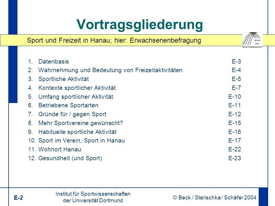 Sport und Freizeit in Hanau; hier: Erwachsenenbefragung Institut für Sportwissenschaften der Universität Dortmund E-2 © Beck / Starischka / Schäfer 2004 2 Vortragsgliederung 1.