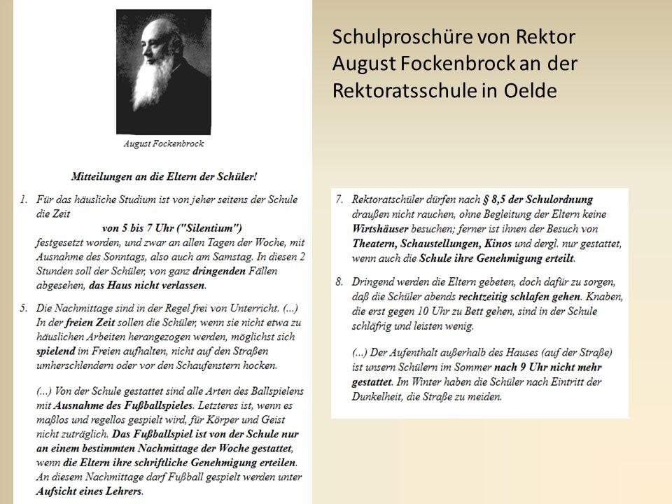 Schulproschüre von Rektor August Fockenbrock an der Rektoratsschule in Oelde