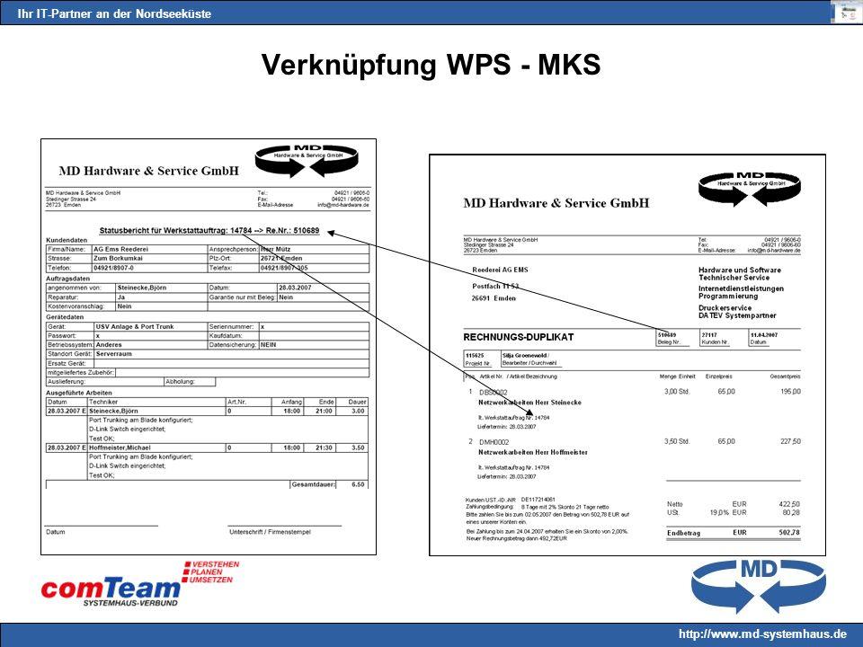 Ihr IT-Partner an der Nordseeküste http://www.md-systemhaus.de Verknüpfung WPS - MKS