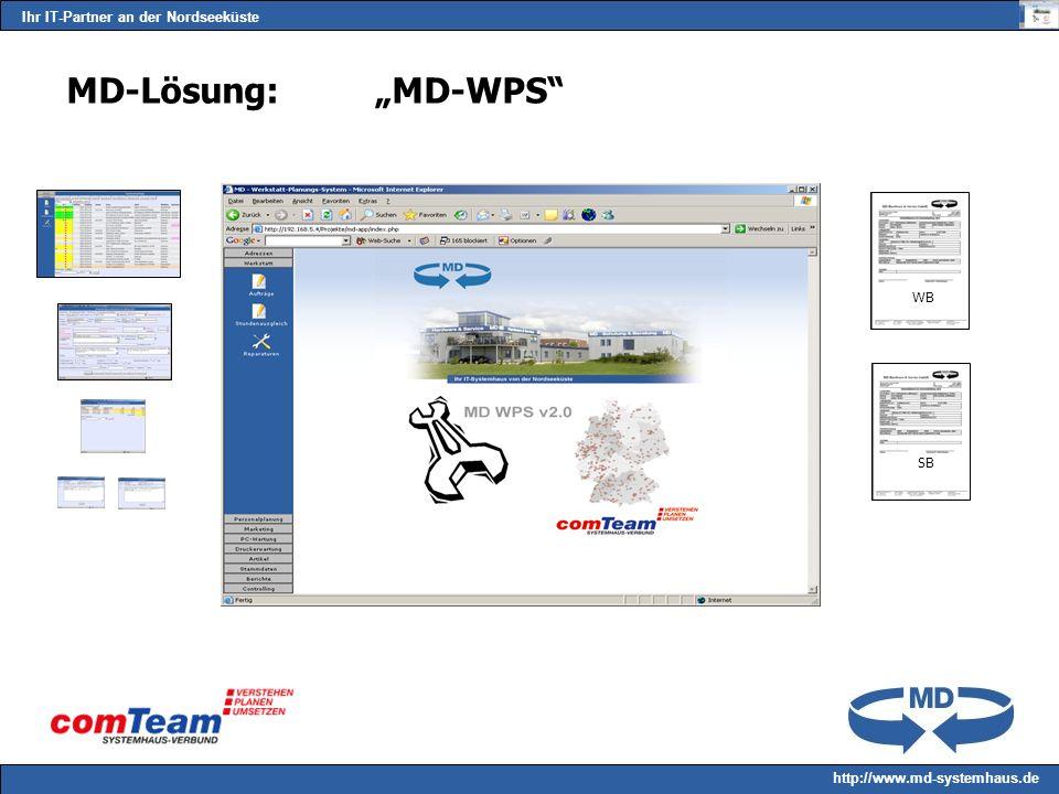 Ihr IT-Partner an der Nordseeküste http://www.md-systemhaus.de MD-Lösung:MD-WPS WB SB
