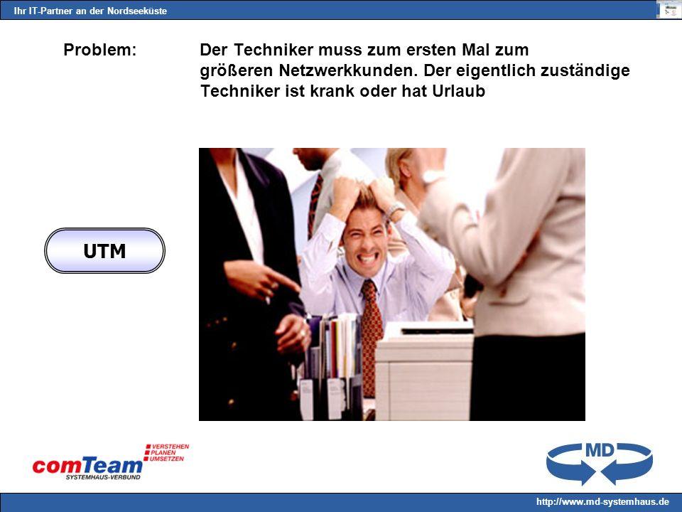 Ihr IT-Partner an der Nordseeküste http://www.md-systemhaus.de Problem: Der Techniker muss zum ersten Mal zum größeren Netzwerkkunden.