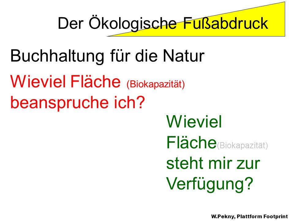 Buchhaltung für die Natur Wieviel Fläche (Biokapazität) beanspruche ich? Wieviel Fläche (Biokapazität) steht mir zur Verfügung? Der Ökologische Fußabd