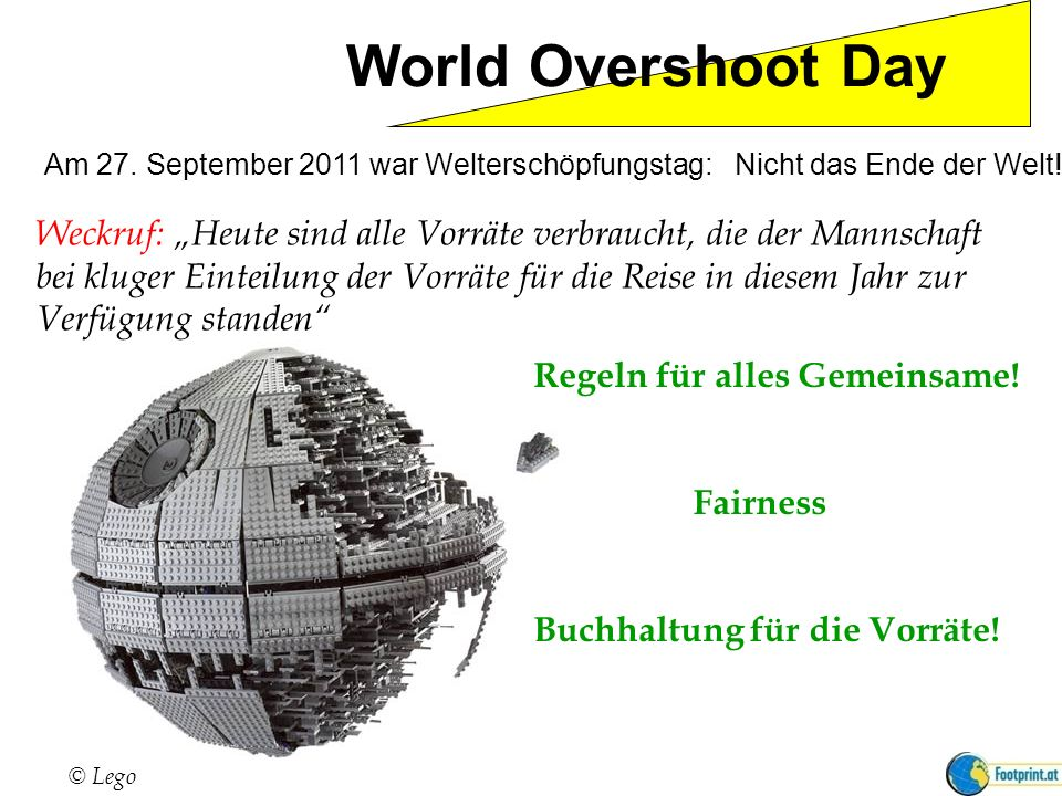 World Overshoot Day Weckruf: Heute sind alle Vorräte verbraucht, die der Mannschaft bei kluger Einteilung der Vorräte für die Reise in diesem Jahr zur