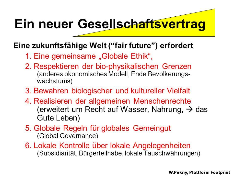 Eine zukunftsfähige Welt (fair future) erfordert 1. Eine gemeinsame Globale Ethik, 2. Respektieren der bio-physikalischen Grenzen (anderes ökonomische