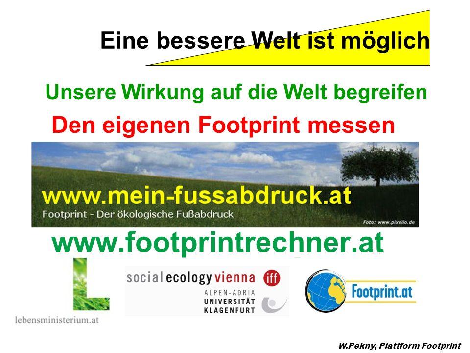 Unsere Wirkung auf die Welt begreifen Den eigenen Footprint messen www.footprintrechner.at W.Pekny, Plattform Footprint Eine bessere Welt ist möglich