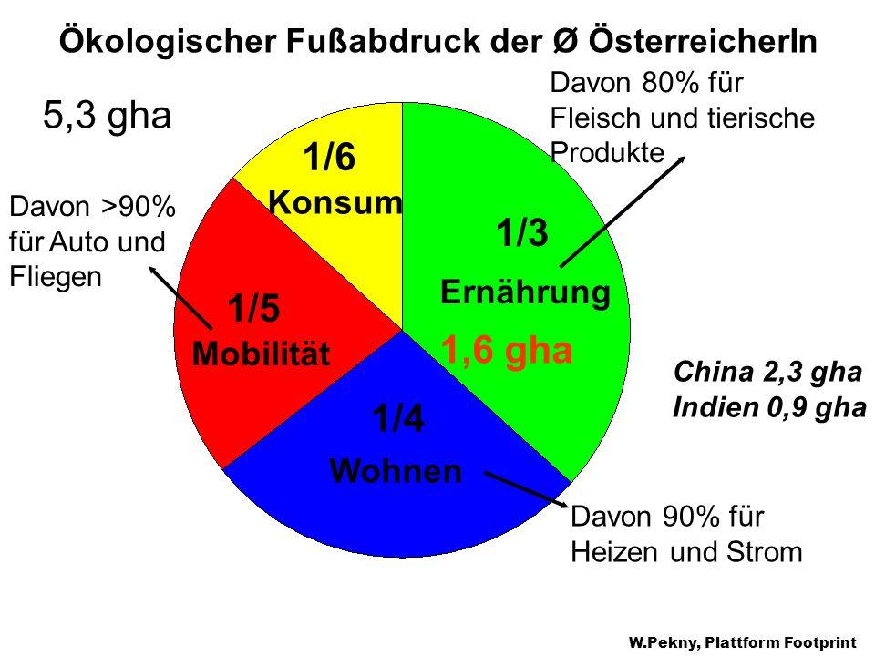 Ernährung Konsum Mobilität Wohnen 1/3 1/4 1/6 1/5 Ökologischer Fußabdruck der Ø ÖsterreicherIn 5,3 gha Davon 80% für Fleisch und tierische Produkte Da