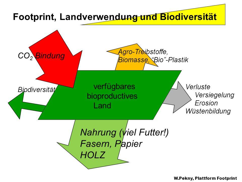 Footprint, Landverwendung und Biodiversität verfügbares bioproductives Land Verluste Versiegelung Erosion Wüstenbildung Nahrung (viel Futter!) Fasern,