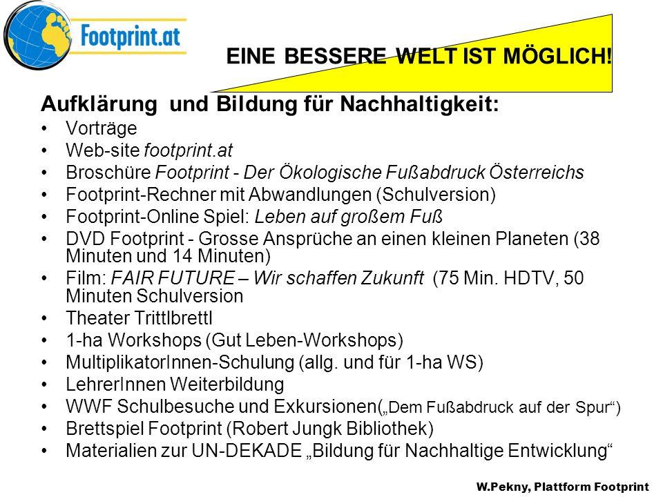 Aufklärung und Bildung für Nachhaltigkeit: Vorträge Web-site footprint.at Broschüre Footprint - Der Ökologische Fußabdruck Österreichs Footprint-Rechn