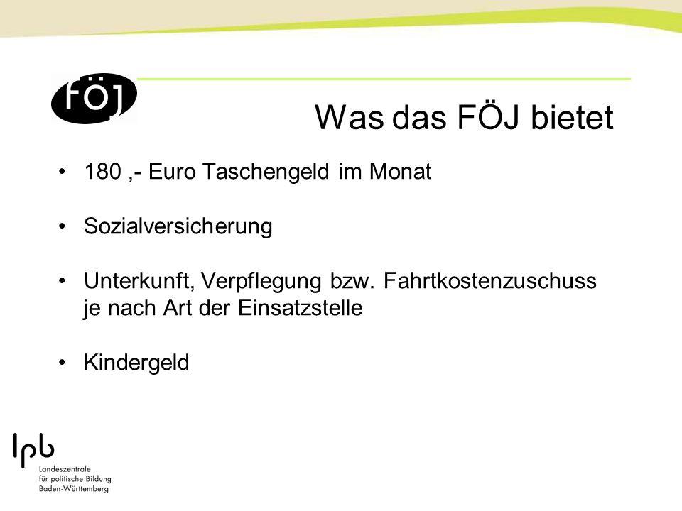 Was das FÖJ bietet 180,- Euro Taschengeld im Monat Sozialversicherung Unterkunft, Verpflegung bzw. Fahrtkostenzuschuss je nach Art der Einsatzstelle K