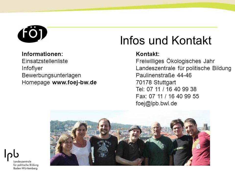 Infos und Kontakt Informationen: Einsatzstellenliste Infoflyer Bewerbungsunterlagen Homepage www.foej-bw.de Kontakt: Freiwilliges Ökologisches Jahr La