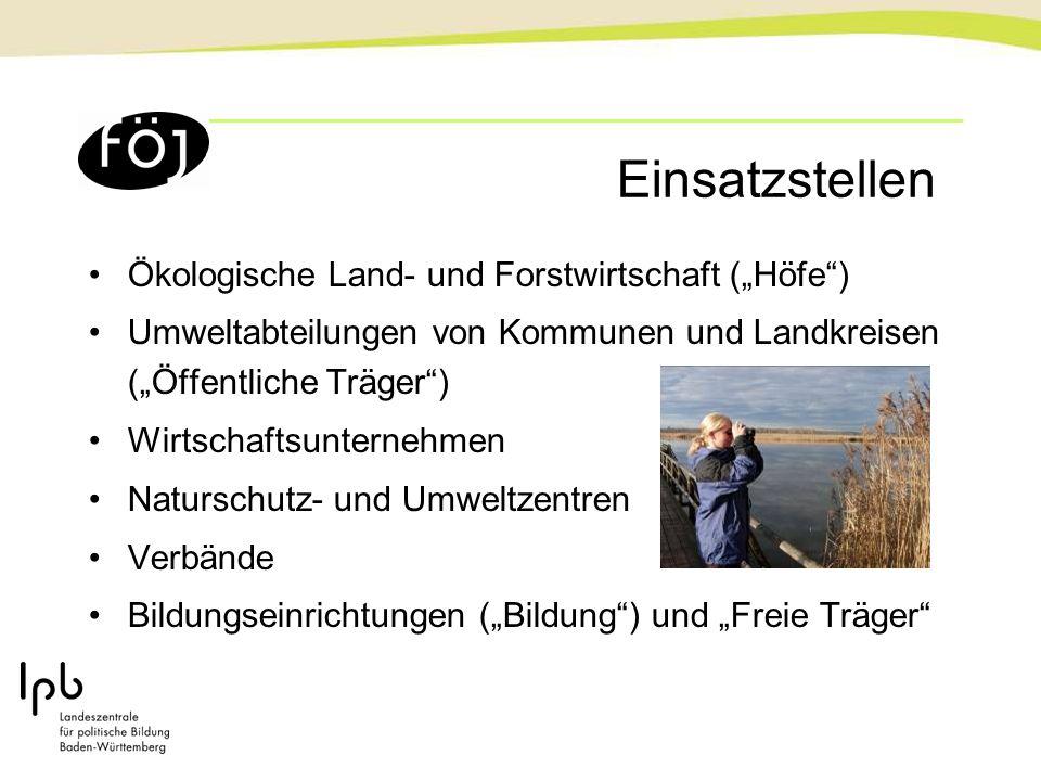 Einsatzstellen Ökologische Land- und Forstwirtschaft (Höfe) Umweltabteilungen von Kommunen und Landkreisen (Öffentliche Träger) Wirtschaftsunternehmen