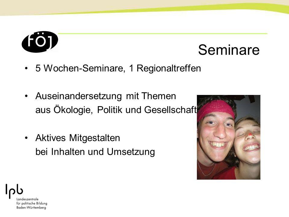 Seminare 5 Wochen-Seminare, 1 Regionaltreffen Auseinandersetzung mit Themen aus Ökologie, Politik und Gesellschaft Aktives Mitgestalten bei Inhalten u