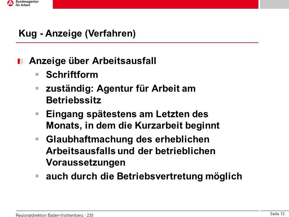 Seite 13 Regionaldirektion Baden-Württemberg - 230 Anzeige über Arbeitsausfall Schriftform zuständig: Agentur für Arbeit am Betriebssitz Eingang späte