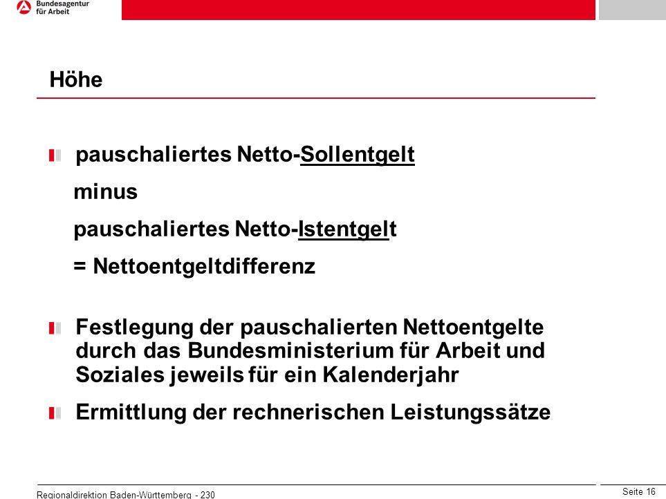 Seite 16 Regionaldirektion Baden-Württemberg - 230 pauschaliertes Netto-Sollentgelt minus pauschaliertes Netto-Istentgelt = Nettoentgeltdifferenz Fest