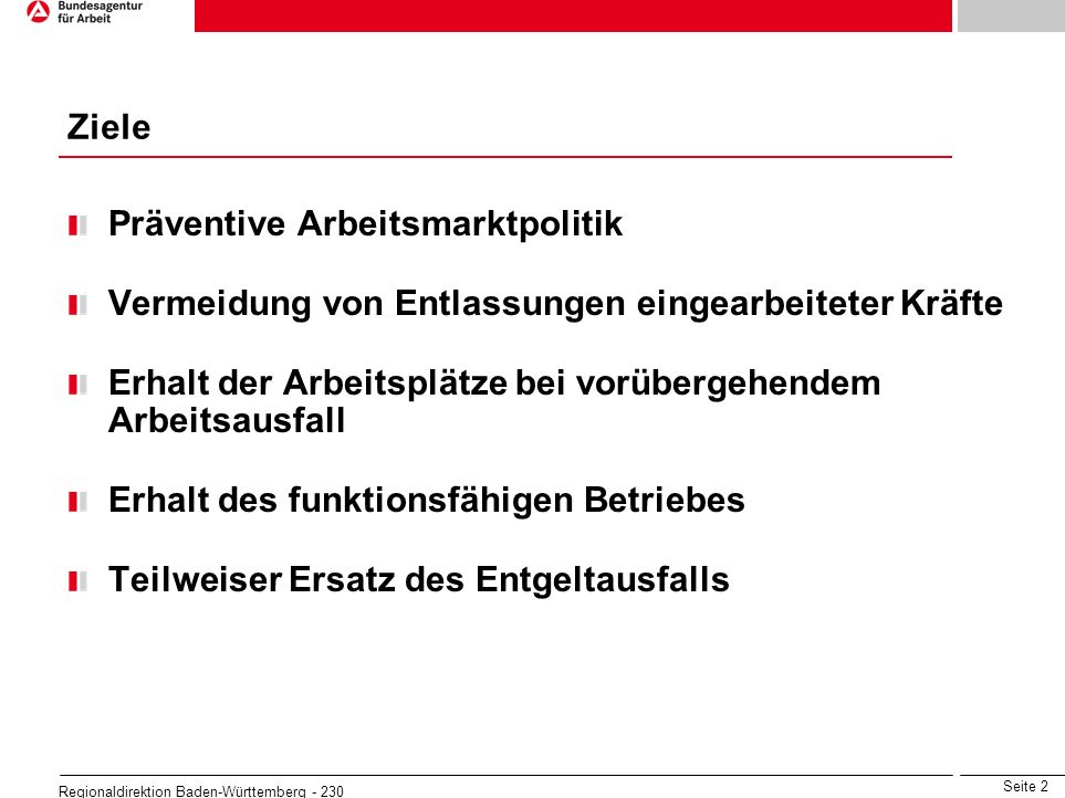 Seite 2 Regionaldirektion Baden-Württemberg - 230 Ziele Präventive Arbeitsmarktpolitik Vermeidung von Entlassungen eingearbeiteter Kräfte Erhalt der A
