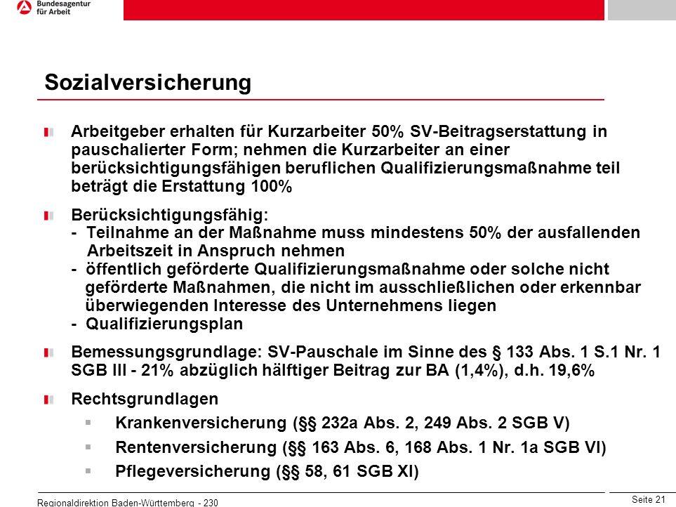 Seite 21 Regionaldirektion Baden-Württemberg - 230 Arbeitgeber erhalten für Kurzarbeiter 50% SV-Beitragserstattung in pauschalierter Form; nehmen die