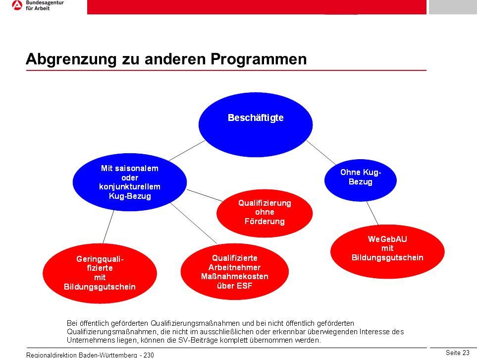 Seite 23 Regionaldirektion Baden-Württemberg - 230 Abgrenzung zu anderen Programmen