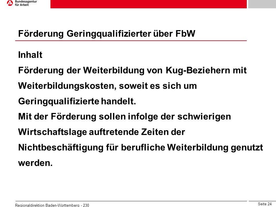 Seite 24 Regionaldirektion Baden-Württemberg - 230 Inhalt Förderung der Weiterbildung von Kug-Beziehern mit Weiterbildungskosten, soweit es sich um Ge