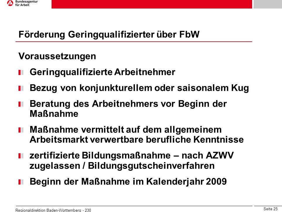 Seite 25 Regionaldirektion Baden-Württemberg - 230 Voraussetzungen Geringqualifizierte Arbeitnehmer Bezug von konjunkturellem oder saisonalem Kug Bera