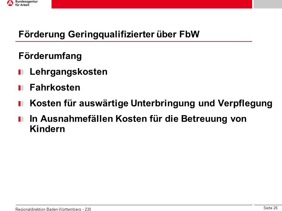 Seite 26 Regionaldirektion Baden-Württemberg - 230 Förderumfang Lehrgangskosten Fahrkosten Kosten für auswärtige Unterbringung und Verpflegung In Ausn