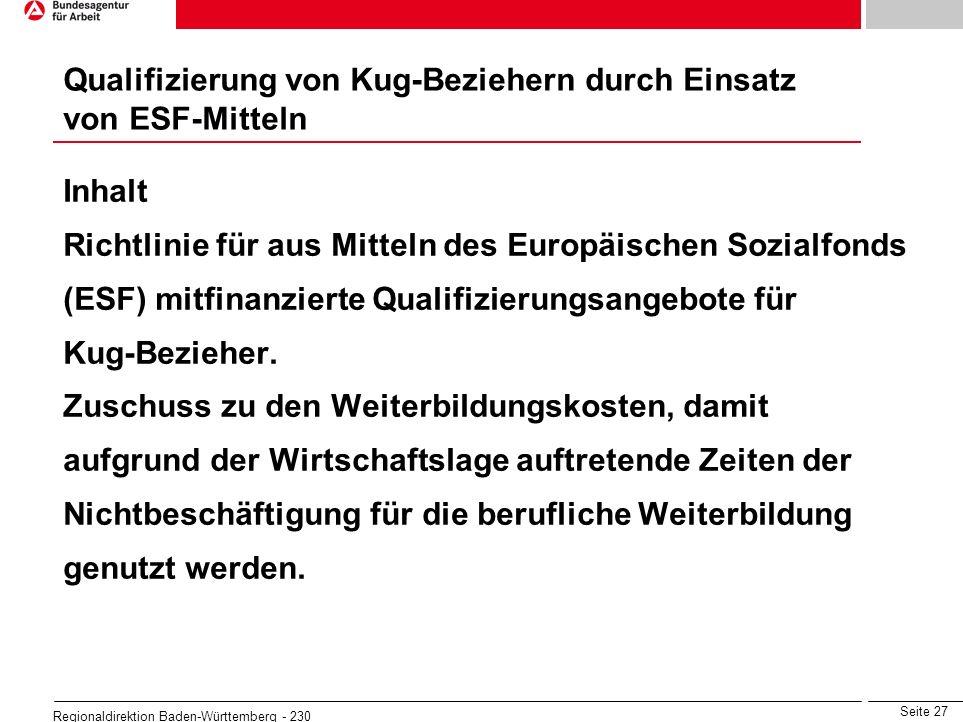 Seite 27 Regionaldirektion Baden-Württemberg - 230 Inhalt Richtlinie für aus Mitteln des Europäischen Sozialfonds (ESF) mitfinanzierte Qualifizierungs