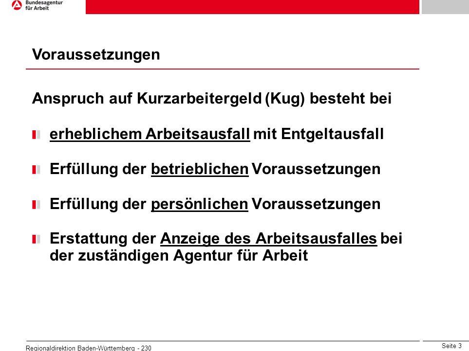 Seite 4 Regionaldirektion Baden-Württemberg - 230 Arbeitsausfall mit Entgeltausfall wirtschaftliche Ursachen oder unabwendbares Ereignis vorübergehend unvermeidbar im jeweiligen Kalendermonat Entgeltausfall von mehr als 10% des monatlichen Bruttoentgeltes für mindestens ein Drittel der im Betrieb beschäftigten Arbeitnehmer Befristet bis 31.12.2010: statt Drittelregelung: nur 10 % Entgeltausfall für betroffene Arbeitnehmer erforderlich Voraussetzungen