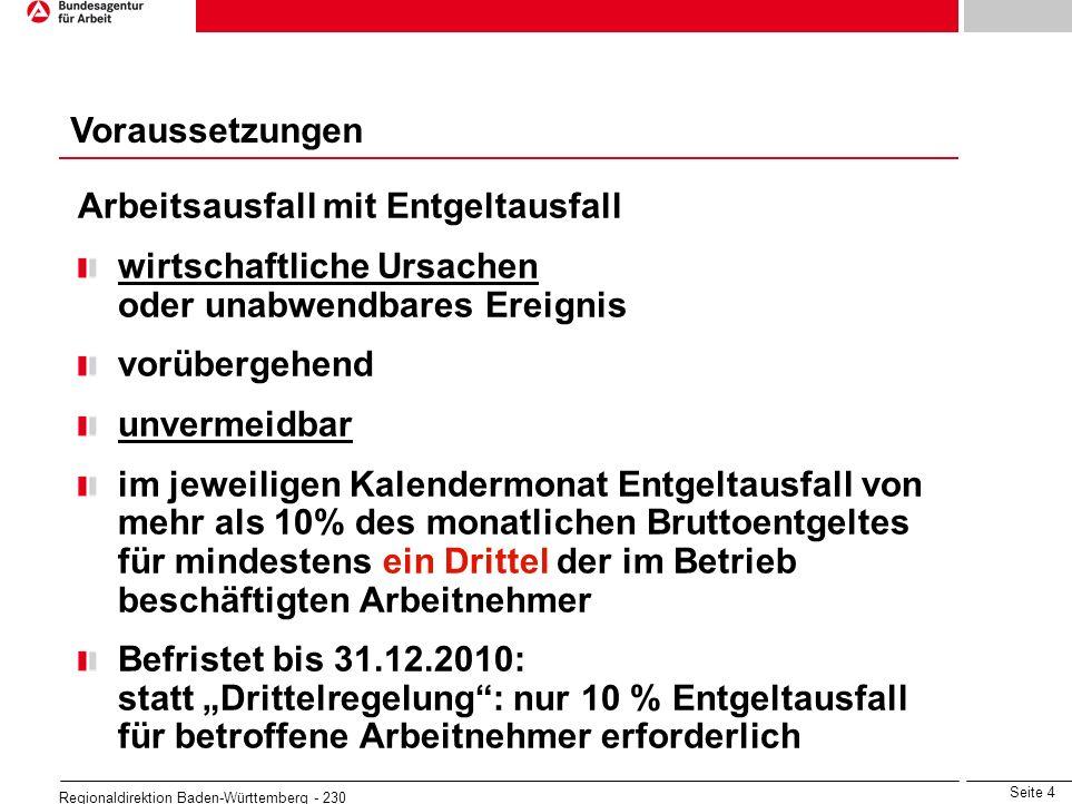 Seite 4 Regionaldirektion Baden-Württemberg - 230 Arbeitsausfall mit Entgeltausfall wirtschaftliche Ursachen oder unabwendbares Ereignis vorübergehend