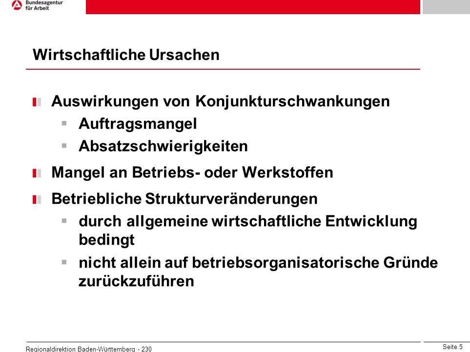 Seite 5 Regionaldirektion Baden-Württemberg - 230 Wirtschaftliche Ursachen Auswirkungen von Konjunkturschwankungen Auftragsmangel Absatzschwierigkeite