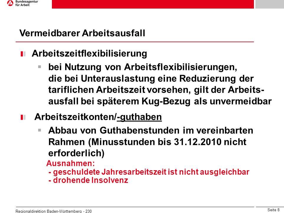 Seite 19 Regionaldirektion Baden-Württemberg - 230 beitragspflichtiges Bruttoarbeitsentgelt, das der Arbeitnehmer ohne den Arbeitsausfall im Kalendermonat erzielt hätte Bei Arbeitnehmern, für die vorübergehend eine Beschäftigungssicherungsvereinbarung mit einer abgesenkten Arbeitszeit gilt richtet sich die Höhe des Kug nach dem Entgelt ohne diese Vereinbarung Bestandteile des Sollentgelts: - Bruttoarbeitsentgelt - vermögenswirksame Leistungen - Anwesenheitsprämien - Leistungs- und Erschwerniszulagen - Zulagen für Sonntags-, Feiertags-, Nachtarbeit soweit steuer- und versicherungspflichtig ohne - Entgelte für Mehrarbeit - einmalig gezahltes Entgelt (Urlaubs- / Weihnachtsgeld) Sollentgelt