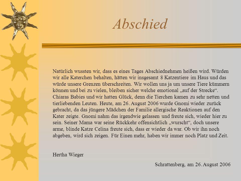 25.8.2006 – Abschied von Pinky !