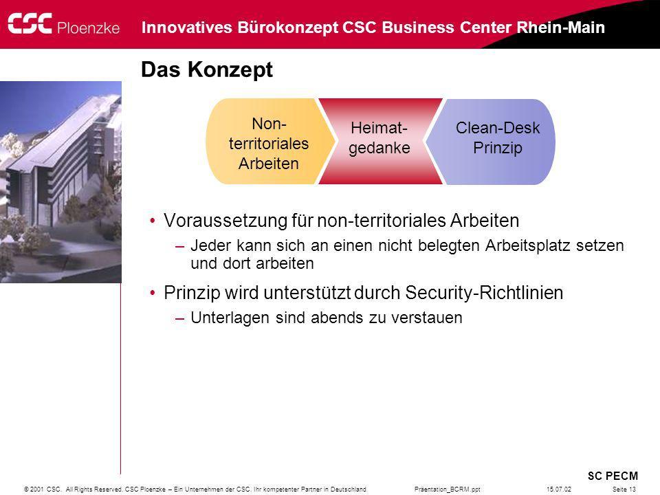 Präentation_BCRM.ppt SC PECM Innovatives Bürokonzept CSC Business Center Rhein-Main © 2001 CSC. All Rights Reserved. CSC Ploenzke – Ein Unternehmen de